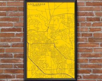 Ann Arbor, Michigan Map Art (University of Michigan)