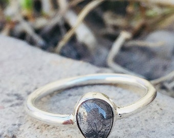 Handmade Black Rutile Quartz Ring- Black Rutile Ring - Gemstone Ring - Sterling Silver Ring - Cabochon Ring - Pear Shape - Size US 3 to 14