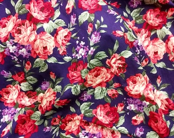 Quilt Cotton Fabric Chic Retro English Floral Pink Rose Deep Purple Fat Quarter Half Yard