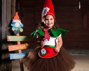Girls Gnome Tutu Dress Halloween Costume (Newborn - 5T)