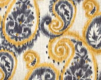 Two 20 x 20  Designer Decorative Pillow Covers for Indoor/Outdoor - Paisley - Grey Golden Yellow
