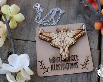 Luna Moth Laser Cut Wood Jewelry