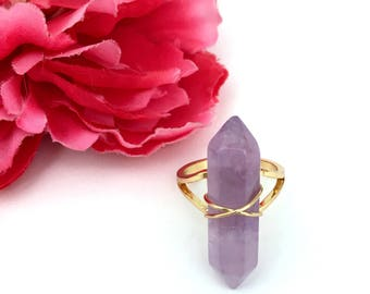 amethyst ring - crystal ring - amethyst jewelry - adjustable ring - womens gift - gemstone jewelry - women jewelry - boho ring - purple ring