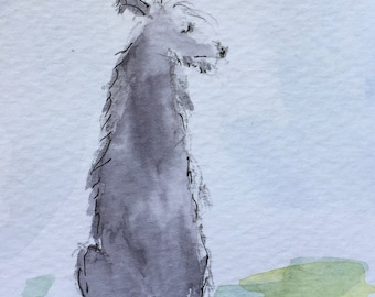 Dog ORIGINAL Miniature Watercolour painting Sighthound Canine dog  ACEO, For him, For her, Home Decor, Wall Art, Gift Idea, Free Shipping