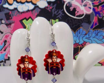 Evil Queen Scalloped Dangle Earrings