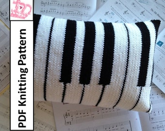 "Piano Pillow, PDF KNITTING PATTERN, 12""x20"", keyboard cushion cover, knit pillow cover pattern"
