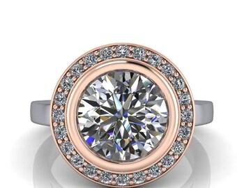3 Ct. Moissanite Engagement Ring Bezel Set Diamond Halo - Marissa