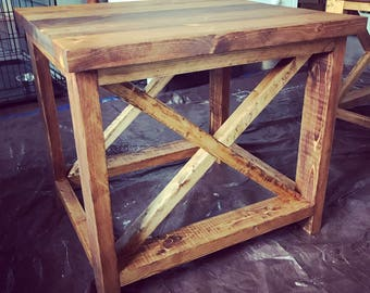 Rustic X-Pattern End Table (Local Pickup Only)