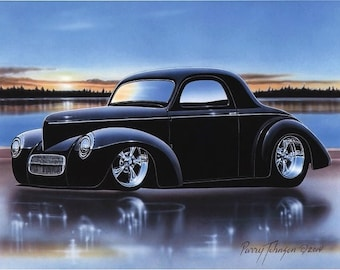 1941 Willys Coupe Streetrod Car Art Print Black