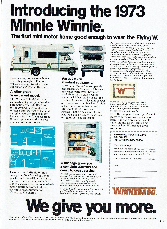 1973 Werbung Winnebago Minnie Winnie Wohnmobil fliegen W RV