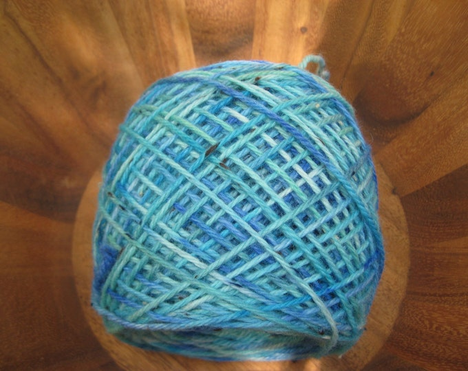 Woolpops Bluesy Hand Dyed Worsted Tweed Yarn
