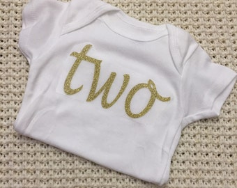 """Gold Glitter Iron-On vinyl cursive """"two"""" lettering for yearly, monthly or birthday onesie- Lettering ONLY (First Class Mail Shipping)"""