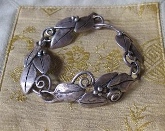 Sterling Silver Handmade Custom Design Leaf Floral Berries Bracelet OOAK