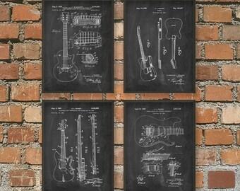 Guitar Patent Prints Set of 4 - Musician Wall Art Poster Set Of Four - Music Room Decor - Guitarist Gift Idea