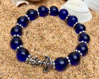 Anchor Summer Bracelet / Azur Blue / beach / sun / fun / seashells / sand / handmade
