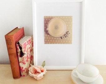 scrabble tiles / vintage teacups photograph / still life photography / pastel / home decor / wall art / fine art / pink / floral / tea