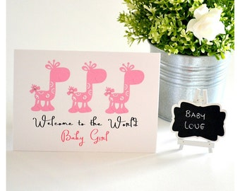 Welcome To The World Baby Girl, Hello Baby Girl, Pink, Giraffes, New Baby Girl Card, Handmade Card, Greeting Card, The Paper Angel