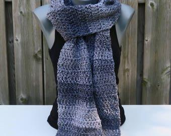 Scarf / Crochet Scarf / Long Scarf / Women's Scarf / Gray Scarf