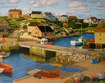 "Early Evening, Peggy's Cove 8"" x 16"" stretched canvas print by Paul Hannon FREE SHIPPING Canada & US"