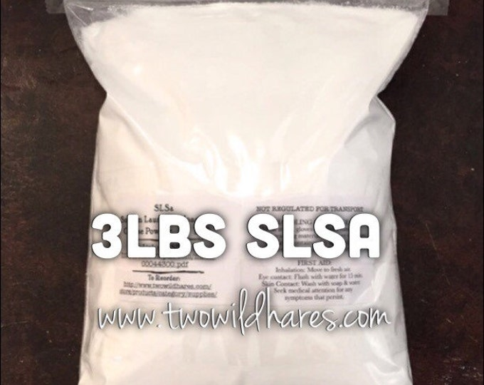 3 LBS SLSA, Eco Certified Surfactant, Lathanol, Sodium Lauryl Sulfoacetate, LAL Coarse, Bubbles!