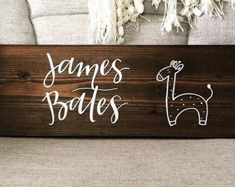 CUSTOM Giraffe Nursery Sign