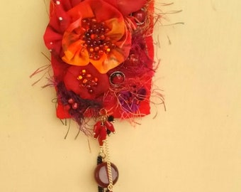 Textile fiber necklace eco Boho  fabric fantasy long nature  textile bohemian jewelry red orange necklace felt beads  ribbon embroidery