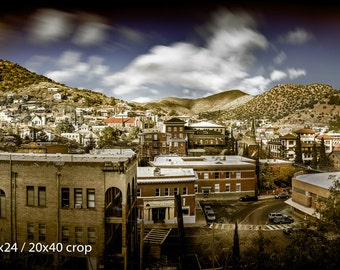 Bisbee Arizona Old Town Panorama B Mountain Long Exposure Color