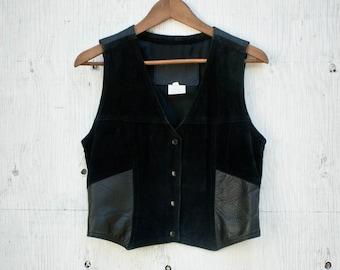 90s Dual Leather Vest - 80s Suede Biker Top - 70s Western Vest - Dual Leather - The Leather Ranch - Black Leather Concert Vest