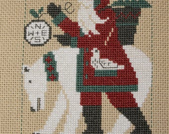 2017 Santa with Bear Finished Completed Cross Stitch  - Design from The Prairie Schooler