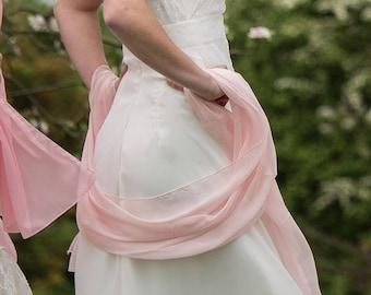 Bridal chiffon stole pale candy pink
