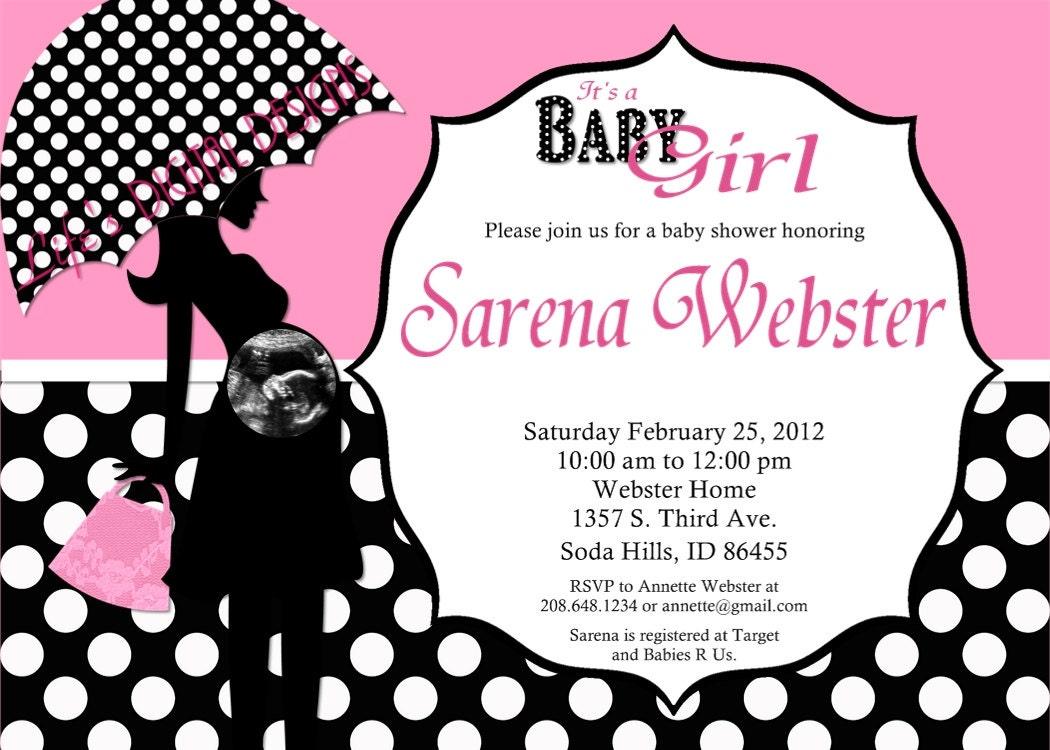 Baby Shower Invitation Pink Umbrella Silhouette Polka Black