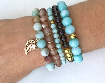 Summer arm party, turquoise and neutral bracelets, sunstone, amazonite, smoky quartz and gold bracelets