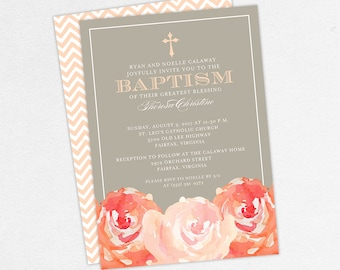 Baptism Invitation, Christening Invitation, Girl Baptism, Printable Baptism Invitation, PDF, Flower, Floral, Watercolor, Peony, Peach, Haley