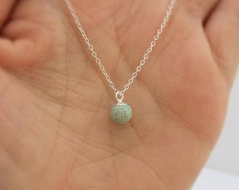 concrete little bell necklace in green and silver