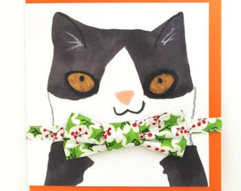 Christmas Cat Gift Set - Holly bowtie and matching collar