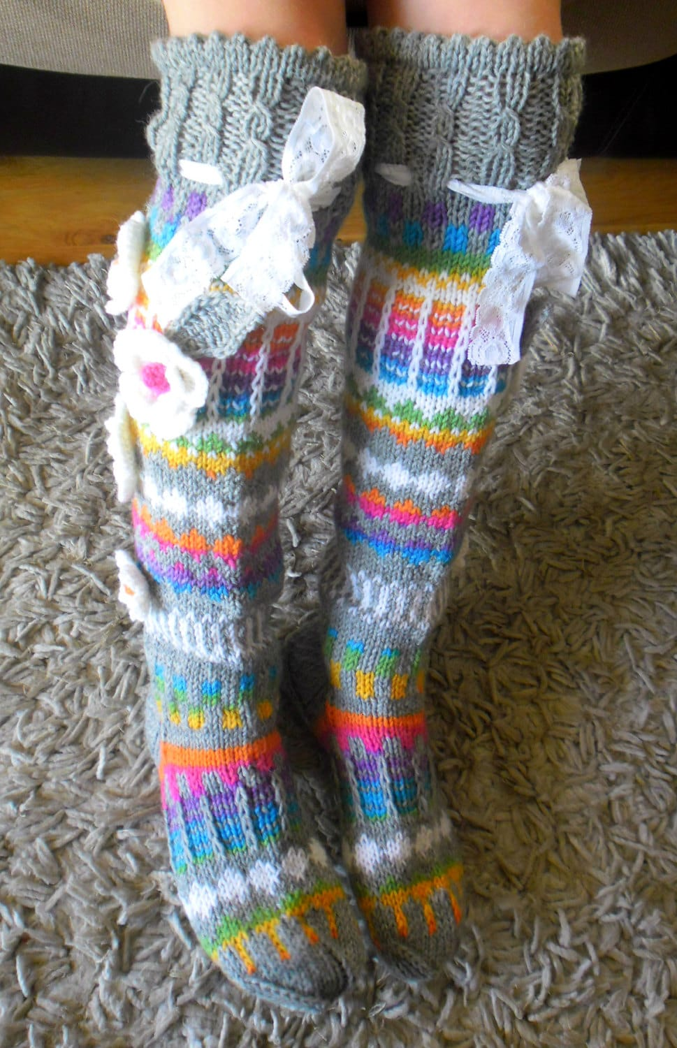 Hand knit knee socks. House knee socks. Flower knee socks.