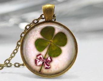 Four Leaf Clover Pendant, Lucky Pendant, St Patricks Day Necklace, Clover Jewelry, Clover Pendant, Bronze, Silver, Good Luck Pendant 232