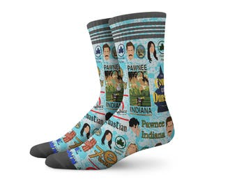 New Parks and Rec Socks | Parks and Recreation, Graffiti Socks, Gym Sock, Parks & Rec Sock | Funky Socks TV Movies Sock, Retro Clothing, MED