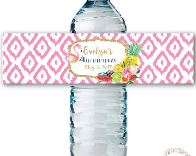 Fruit Water Bottle Labels / Floral / Flamingo / Tutti Fruity / Water Wrap / Baby Shower / Frutti / Printed or Printable // ARUBA COLLECTION