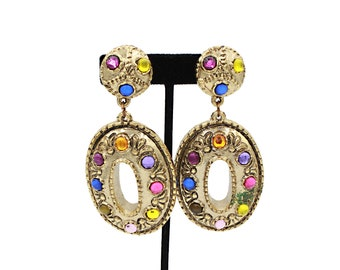 Bold 80s Earrings embellished with gemstones