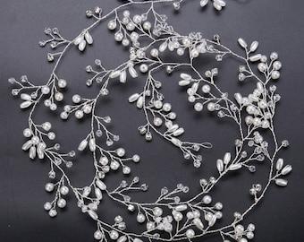 Handmade Pearl crystal hair vine Bridal headband hair assoceries