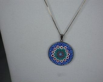 82# ANTICA MURRINA Venezian PENDANT w/925 Italian Sterling Silver Necklace