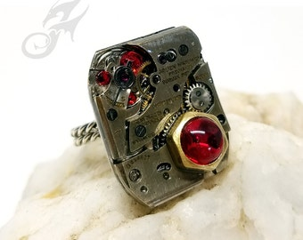 Size 7-9 Steampunk Ring ~ Gruen Curvex Watch Movement w/ Swarovski Siam Red Rhinestones ~ Handmade Sterling Silver Adjustable Band ~ #R0096