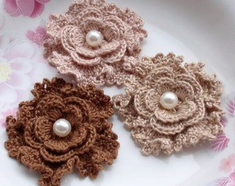 3 Crochet  Flowers With Pearl In 2.5 inches YH -162-01