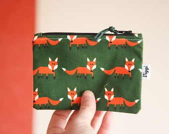 travel wallet fox / vegan coin purse / kids wallet / men women / small zipper pouch