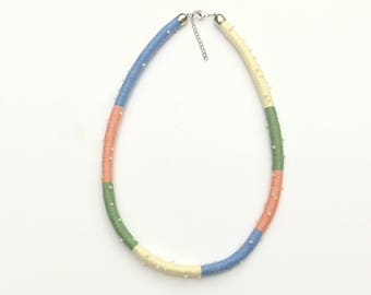 Color Block Beaded Rope Necklace, Rope Jewelry, Unique Gift For Her, Textile Statement Necklace, Cotton Wrapped Fabric Necklace