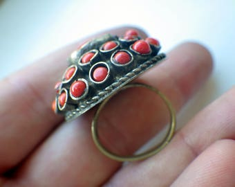 Domed Faux Coral Ring - Early Design