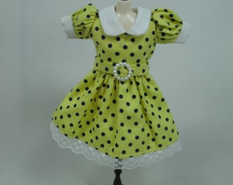 Blythe Outfit Handcrafted polka dots dress basaak doll # 12-44