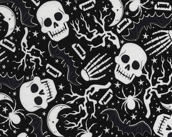 Fabric Timeless Halloween Glow In The Dark Skeletons Skulls Spiders On Black Victorian Goth Gothic CG5423
