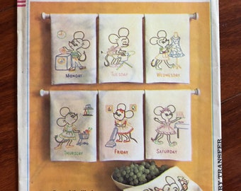 Vintage 1960s 1966 Simplicity 6804 Days of the Weeks Kitchen Towels Mouse Mice